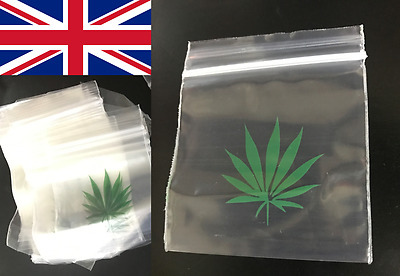 Grip Seal Plastic Baggies Leaf Button Bags Pack of 100 7.5cm Height x 6cm Width
