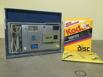 VINTAGE MINOLTA DISC - 5 CAMERA With Case And Kodak Gold Film 1980's