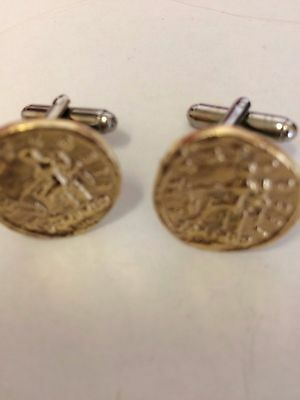 Aureus Of Hadrian Coin WC59A Gold Pair of Cufflinks Made From English Pewter