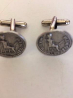 Denarius Of Tiberius Coin WC60A Pair of Cufflinks Made From English Pewter