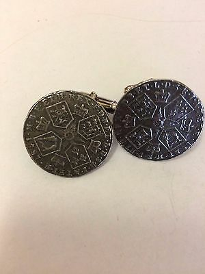 George III Shilling Coin WC62A Pair of Cufflinks Made From English Pewter