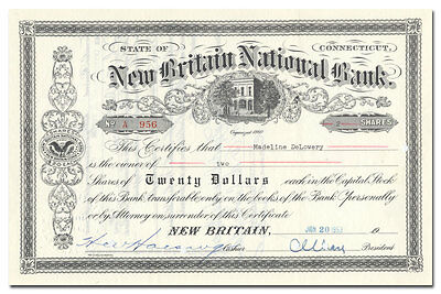 New Britain (Connecticut) National Bank Stock Certificate