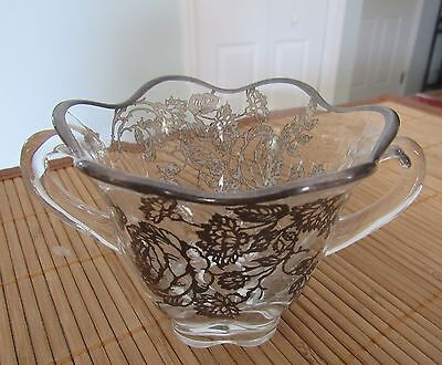 Silver Overlay Open Sugar Bowl Spooner * 2-Handled * Floral * Scalloped Base*EUC