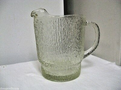 Older Indiana Glass Pitcher Ice Lip-Crystal Ice Pattern (or Tree bark?)