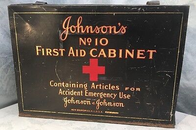 VTg Antique Johnson's First Aid Wall Hanging Cabinet No. 10 Nice Display