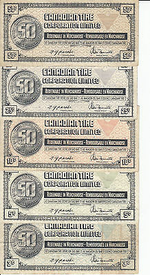 Canada Canadian Tire Store 1972 White Denomition 3,5,10,25,50 Cents