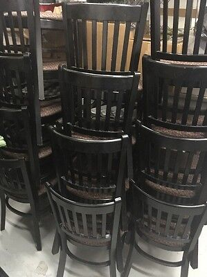 Restaurant Chair Wood Frame w/ Cloth Seats- LOT OF 12