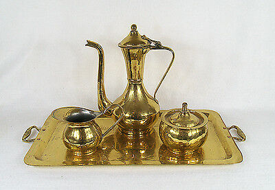 Antique Russian Imperial Hand-Hammered Brass Tea Set