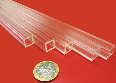 "Acrylic Square Tube Clear Extruded 1/2"" SQ x .063"" Wall x 72"" Length, 5 Pcs -002"