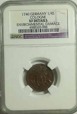 1740 German Cologne  1/4 Stube Ngc Xf Details