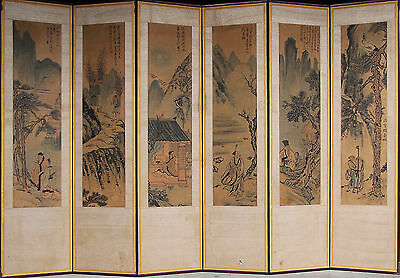 A Fine and Antique Korean 6 Panel Landscape Painting Screen-19th C