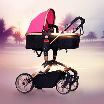 Newly Baby Stroller High-View Folding Pushchair Shockproof Infants Pram Buggy