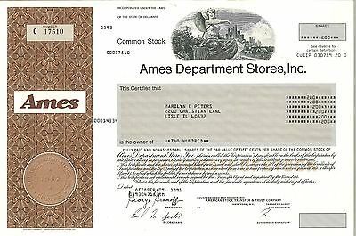Ames Department Stores   1962 Delaware old stock certificate share