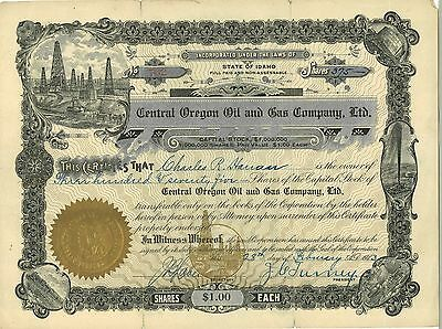 Central Oregon Oil and Gas > 1913 Idaho old stock certificate share