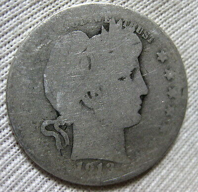 1913 S Barber Silver Quarter Circulated Extremely Rare