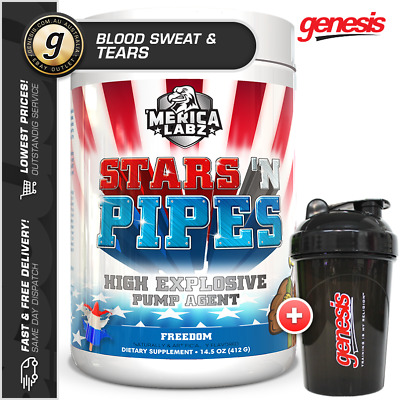 Merica Labz - Stars N Pipes *BLOOD SWEAT & TEARS* - Pump Pre-Workout + FREE Gift