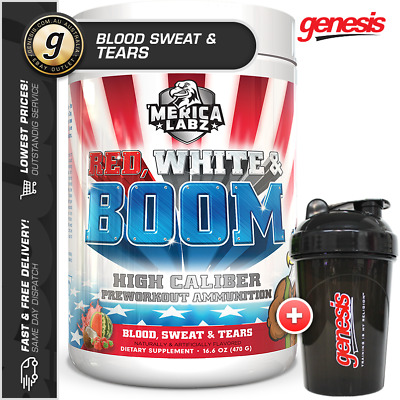 Merica Labz - Red White & Boom *BLOOD SWEAT & TEARS* - Pre-Workout + FREE Gift!