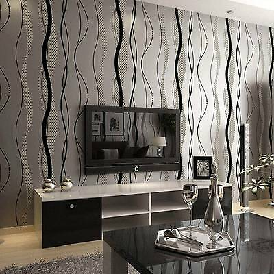 10M Roll Flocking Wave Home Luxury Renovation Project Wall Paper Wallpaper Grey