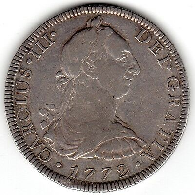 1772-FM (with inverted assayers) MEXICO silver 8 Reales pillar dollar, nice VF