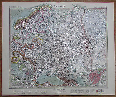 1926 OSTEUROPA Eastern Europe Russland Kupferstich alte Landkarte Antique Map