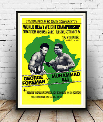 Foreman Vs Ali , Vintage Heavyweight boxing advertising , Poster reproduction.