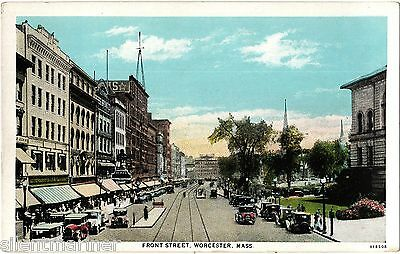 Worcester, Mass., Front Street, old coloured postcard, unposted