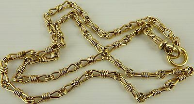 Antique 17 inch long 15ct gold watch guard chain Weighs 17.2 grams