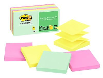 Post-it Pop-up Notes, 3 in x 3 in, Marseille Collection, 12 Pads/Pack, 100