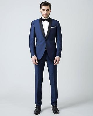 New Blue Wedding Suits For Men Black Shawl Lapel Tuxedos One Button Groom Suits