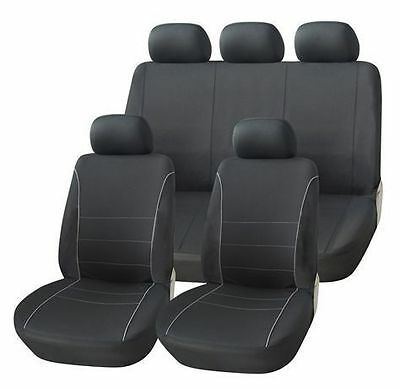 Ford Maverick 01-03 Black Seat Covers With Grey Piping