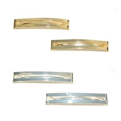 Card of 2 Open Rectangle Unsprung Barrette Hair Clip Slide 6cm Metal Gold Silver