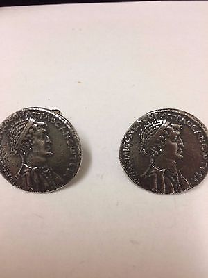 Silver Tetradrachm Coin WC71A Pair of Cufflinks Made From English Pewter