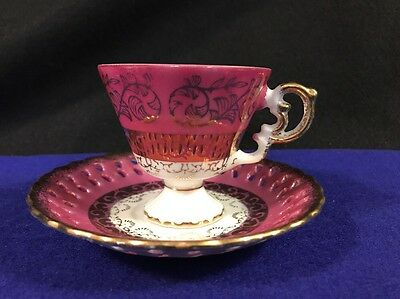 Pink & Gold Iridescent Footed Bone China Demitasse Cup & Lace Edge Saucer