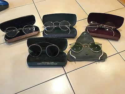 Vintage Antique Lot 5 Wire Frame Eyeglasses