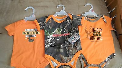 3 NEW   Camo baby hunting onesie, outfit 0-3 months short sleeve