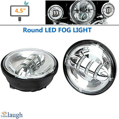 A Pair Chrome 4.5 inch 30W LED Headlight Moto Fog Light for Harley Motorcycle
