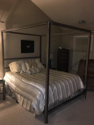 Queen Size Silver Canopy Bed Frame