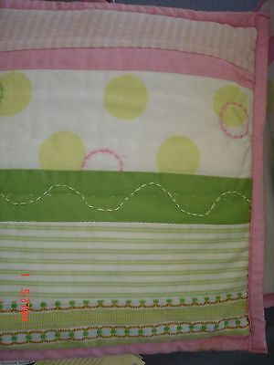 Pottery Barn Kids Penelope Crib Bumper - Pink, Green - Dots, Stripes