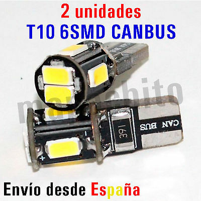 2 x Bombillas 6 LED 5730 5630 SMD CANBUS T10 W5W Bombilla Blanco Posición