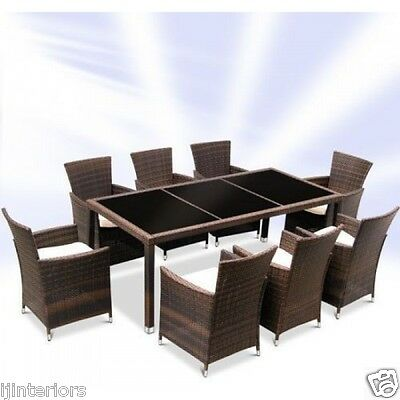 Rattan Garden Furniture Set Dining Table And 8 Chairs