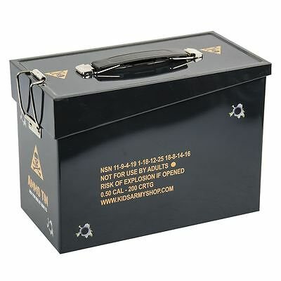 Kids Army Metal Ammunition Tin Ammo Camouflage Storage Box