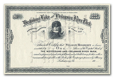 Westcolang Lake and Delaware River Park Stock Certificate (1880's)