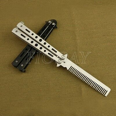 Stainless Steel Stunning Practice Balisong Butterfly Comb Trainer Training Knife