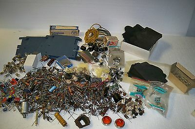 Vintage large lot of capacitors resistors and other radio parts