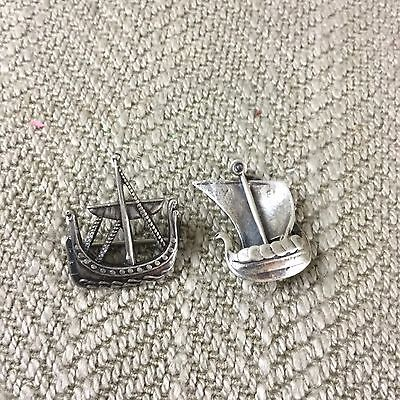 2 Sterling Silver Viking Boat Ship Charm Pendant Brooch Pin Norse Scandinavian