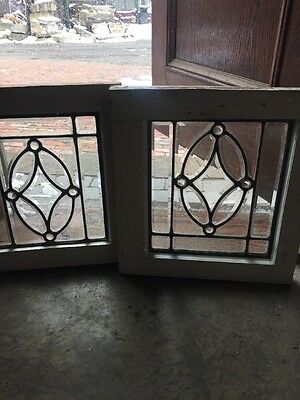 Sg 1235 2 Available Price Separate Antique Jeweled Beveled Window 16.75 X 17.75