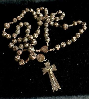 Beautiful Huge Antique Wooden Rosary Beads , Christ Madonna Crucifix French Icon