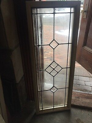 Sg 1238 Antique Beveled Leaded Glass Window 14 X 38 1/8
