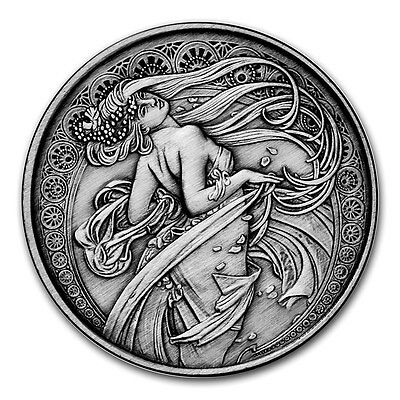 Alphonse Mucha Collection - DANCE 1 oz Silver USA Antiqued Capsuled Round W/COA