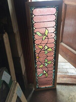 Sg 1240 Antique Stained Glass Floral Transom 14.5 X 49.2